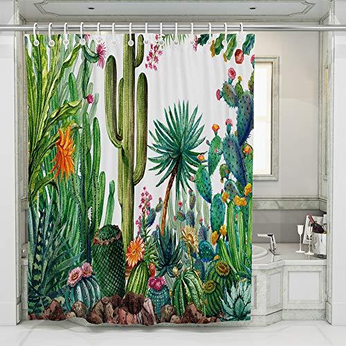 JOTOM Tende da Doccia Non Sbiadimento Durevole Poliestere Cactus Fogliame Fenicottero Modello Shower Curtain Resistente con 12 Ganci, 180x180cm (Cactus A)