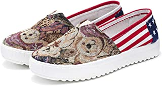 pfpeng Women Canvas Fashion USA Flag Bear Print Sneakers Low Top Slip On Casual Shoes
