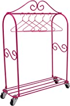 18 Inch Doll Furniture Rolling Clothing Rack Plus 5 Doll Hangers, Great Storage for 18 Inch American Girl Doll Clothes & More! Doll Sized Storage Closet with Hangers