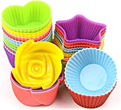 Nonstick Cupcake Liners 24 Pack Silicone Cupcake Cases Wrappers Muffin Moulds Reusable and Heat Resisant Baking Cups For Baking Gelatin, Snack, Frozen Treats, Ice Cream (Colorful)