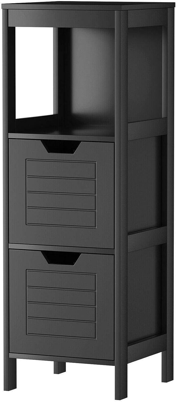 Bathroom Wooden Floor Cabinet Multifunction Storage Rack Stand Organizer Gray