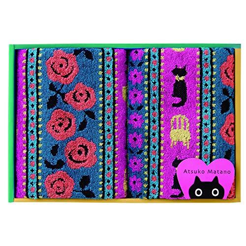 東京 西川 マタノアツコ タオルギフト フェイスタオル2枚 マタノアツコ 猫とバラ やわらか パイル ギフトボックス入り ピンク TT89200086P