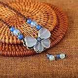 HWOEMX Collar Estilo étnico Collar Clavícula Femenina Cadena Decoración Simple Estudiante Colgante Joyas Retro Corto Azul Longitud (45 Cm)