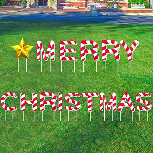 changsha 15 Pcs Christmas Yard Signs with Stakes, Colorful Lawn Merry Christmas Decorations Outdoor with Stake Christmas Party Holiday Yard Signs Decorations