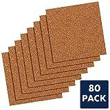 Quartet Cork Tiles, Cork Board, 12' x 12', Corkboard, Wall Bulletin Boards, Natural, 80 Pack (108)