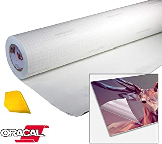 ORACAL High Gloss Self-Adhesive Clear Lamination Vinyl Roll for Die-Cutter and Plotter Machines Including Yellow Detailer Squeegee (12