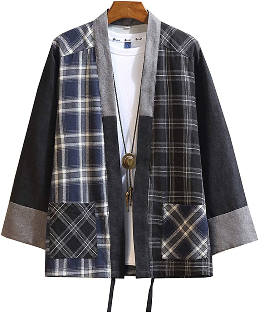 Hotmiss Mens Kimono Hipster Plaid Patchwork Linen Cloak Open Front Cardigan Jackets