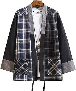 Mens Kimono Hipster Plaid Patchwork Linen Cloak Open Front Cardigan Jackets