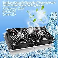 冷却ユニットDC12V/15A/120W、ミニ半導体冷凍装置、DIY冷却システムキット、冷却する伝導モジュール、省エネルギー、冷媒不要、低騒音、操作簡単、ペットのベッドやコンピューターやなどを冷却することに適合(米国プラグ)