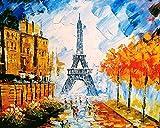 Paisaje de la calle de París popular pintura al óleo diy por números kit pintura Diy lienzo pintura por números acrílico A9 50x70cm