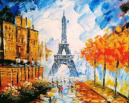 Paisaje de la calle de París popular pintura al óleo diy por números kit pintura Diy lienzo pintura por números acrílico A1 50x70cm