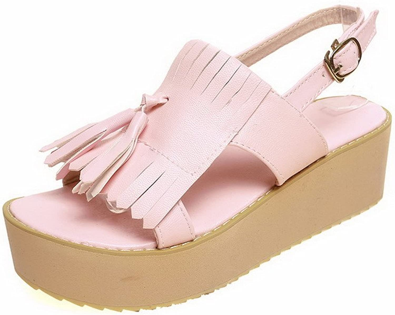 WeenFashion Women's Soft Material Buckle Open Toe Kitten-Heels Solid Flats-Sandals