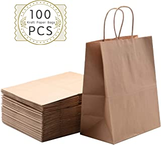 Haiquan 100Pcs Brown Kraft Paper Bags 8 x 4.75 x 10 inchs Recycled Bags Bulk with Handles for Shopping, Packaging, Wedding, Retail, Party, Gifts