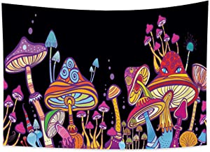 Haoyiyi 39.4x27.6 Inches Colorful Mushroom Tapestry Elves Wall Hanging Trippy Geometry Hippy Psychedelic Mystic Abstract Art Nature Plants Wall Tapestry Fairy Tale Aesthetic for Bedroom Decor Curtain