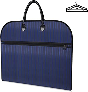 Buruis Travel Garment Bag with Large Laptop Compartment and 2 Pcs Functional Hangers, Protable Waterproof Suit Bag Carrier Cover for Trip, Business and Clothes Storage (Blue Stripe)