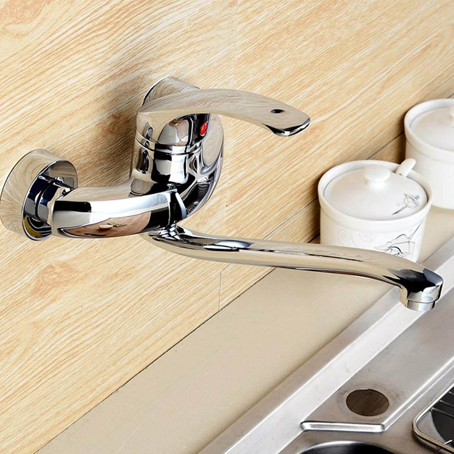 AXWT Wall-mounted Kitchen Taps In-wall Sink Faucet Mixing Valve Cold Heat Balcony Faucets redate Fold Water-tap (Size   17cm)