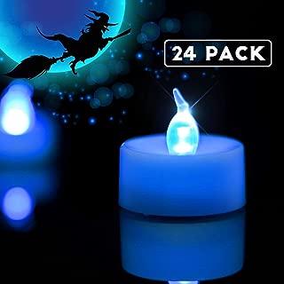 Homemory LED Tea Lights Candles Bulk, Set of 24 Battery Tea Lights, Long-Lasting Battery Operated Tea Lights, White Base, Indigo Blue Light, 1.25'' H X 1.4'' D