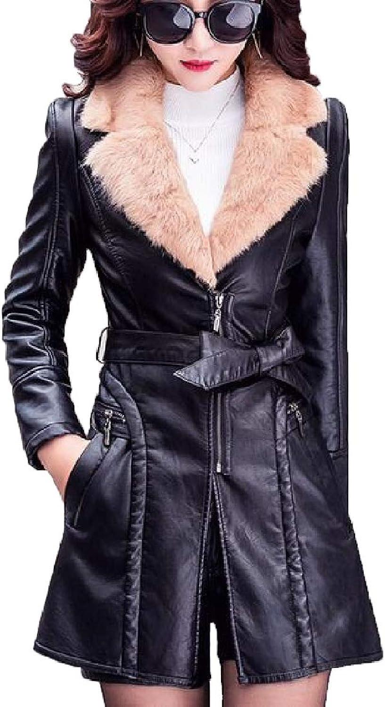 Womens Warm Fur Collar Faux Leather Long Jackets Coat