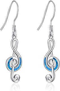 WINNICACA Music Note Earrings Sterling Silver Created Opal Musical Jewelry for Dance Lovers for Women Her Teacher