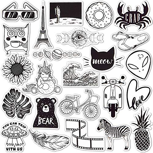 SUSIHI Black and White vsco Stickers for Laptop Stickers for Teen Girls Water Bottle Black Stickers for Adults Cute Stickers Black and White Aesthetic Waterproof Stickers Pack(50Pcs)