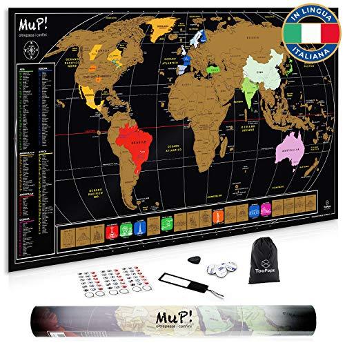 TooPopz Mappa del Mondo da Grattare MuP! | Design Italiano Grande Cartina Geografica Panoramica 84x44 cm - Idee Regalo Viaggiatori Poster Mappamondo A Graffio - Arredo Parete Scratch The World Map