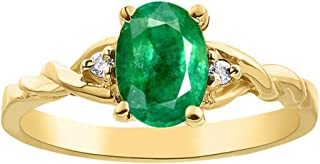 Diamond & Emerald Ring set in Yellow Gold Plated Silver