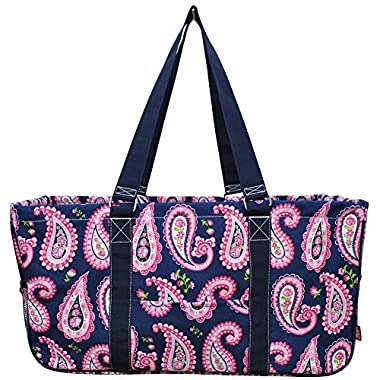 N. Gil All Purpose Open Top 23  Classic Extra Large Utility Tote Bag 3 (Paisley Navy Blue)