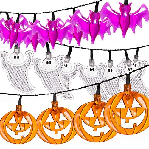 Set of 3 Halloween String Lights, Battery Operated 30 LED 12Ft Each Halloween Lights of Orange Pumpkins, Purple Bats and White Ghosts for Outdoor & Indoor Halloween Party Decorations