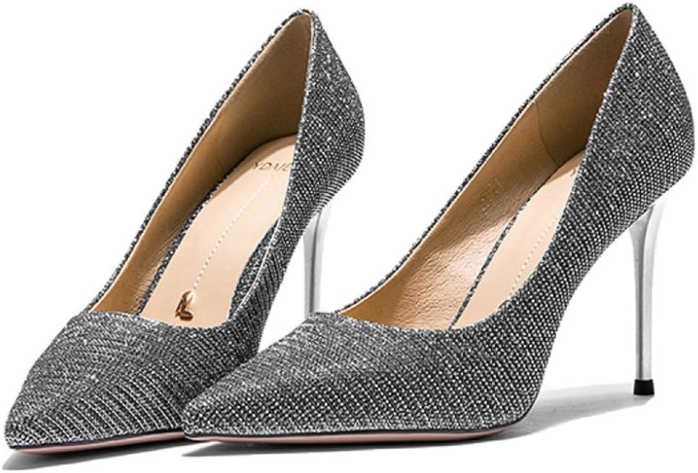 Yra Damenschuhe Frühling Neue High Heels Damen Stiletto Heels Single Schuhe Party Schuhe Arbeit,Silber-8.5CM-EU 35 UK 3