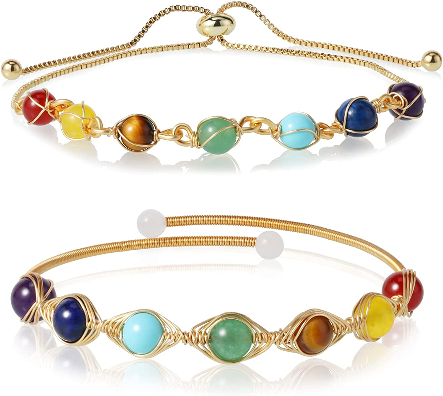 2 Pcs Healing Crystal Bracelet for Women Girls 7 Chakra Cuff Bead Bracelet with 14K Gold Plated Adjustable Wire