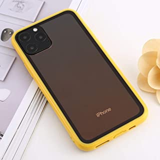 For iPhone 11 Pro Max shockproof Imitation Glass Gradient Color TPU + Acrylic Case New(Red) Hengk (Color : Yellow)