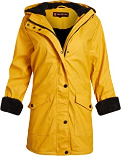 URBAN REPUBLIC Ladies Hooded Vinyl Rain Jacket with Woobie Fur Lining