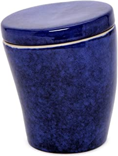 AllAsta Stoneware Crooked Canister Indigo Blue Food Storage 6 Inches