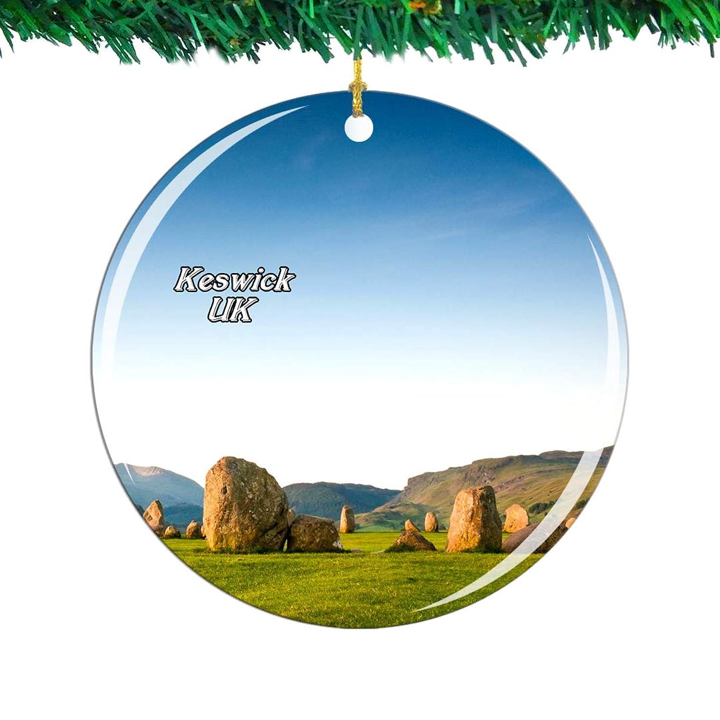 アセンブリ強制キャンパスWeekino イギリスイングランドキャッスルリッグストーンサークルケズウィッククリスマスオーナメントシティ旅行お土産コレクション両面 磁器2.85インチ ぶら下がっている木の装飾