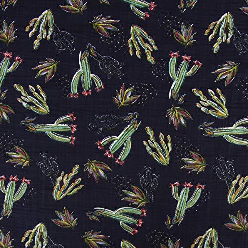 Mooi leven. Bekleding stof blouse linnenlook cactus bladeren donkerblauw groen rood 1,40m breedte