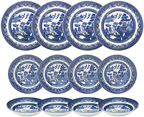 Churchill Blue Willow Dinner Plates, Salad Plates and Coupe Bowls 12 Piece Dinnerware Set, Made In England