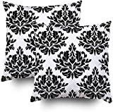 Fundas de almohada de sofá, diseño floral de damasco clásico sin costuras, con flores negras sobre fondo blanco, juego de 2 fundas de almohada, fundas de almohada decorativas con cremallera para sofá