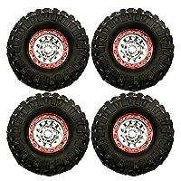 ラジコン カー 1.9インチ96mm ビードロック ホイールリムゴムタイヤ Internal Beadlock Wheels For 1 : 10 Axial scx10 d90 d110 RC車 11番 (4個)