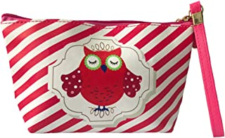 HOYOFO Owl Pattern Makeup Pouch Bag Wristlet Travel Cosmetic Bag Coin Purse Clutch, Red Stripe