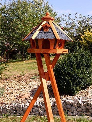 Houten decoladen vogelhuis, vogelhuisjes met en zonder standaard behandeld type 23 mit Ständer blauw