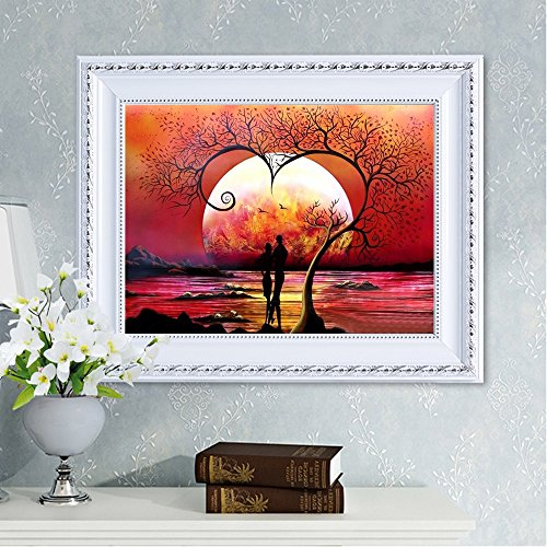 WEI MOLO Deals of The Day Cross Stitch Kits DIY 5D Diamond Painting for Home Wall Decor by Number Kit Sunset Lovers (one Size, Multicolor)