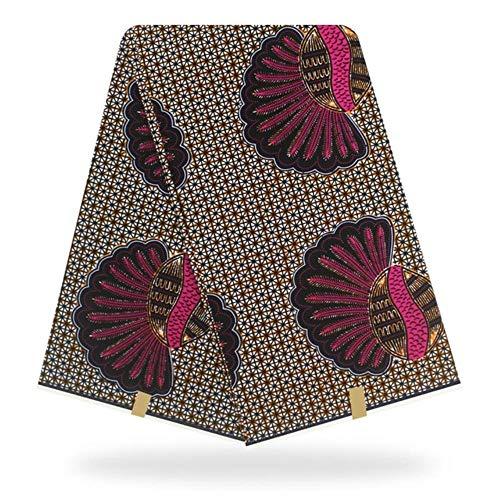 Coner Afrikaanse katoenen waxprint Bloemenwasstof voor vrouwen Feestjurk maken van ambachten, wit, 110 cm 1 meter