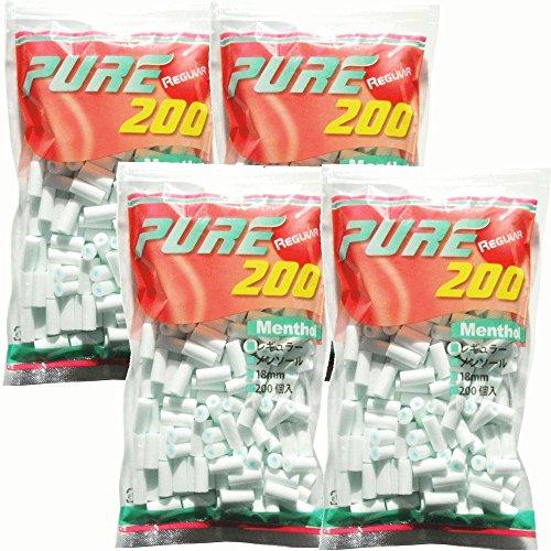 pure ピュアレギュラーメンソールフィルター 200個入りx4パック シャグ 喫煙具 手巻き