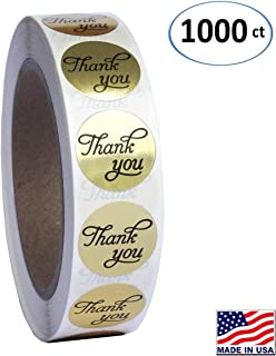 1 inch Round Gold Foil Thank You Sticker Labels in Script/Calligraphy Print, 1000 Labels per Roll, 1
