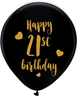 Black 21th Birthday Latex Balloons, 12inch (16pcs) Boy Girl Gold Happy 21th Birthday Party Decorations Supplies