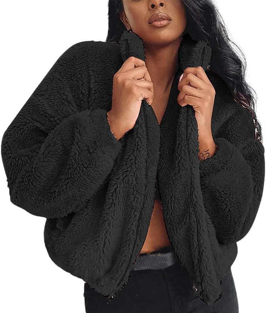 FIRERO Womens Winter Warm Faux Fur Coat Jacket Solid Color Zipper Plush Outerwear