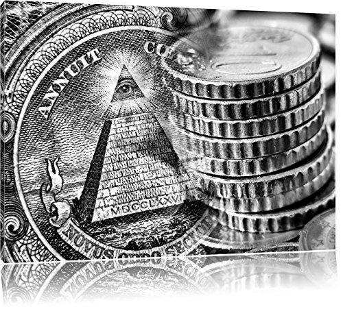 Illuminati Pyramide, Black and als Leinwandbild | Größe: 60x40 cm | Wandbild | Kunstdruck | fertig bespannt