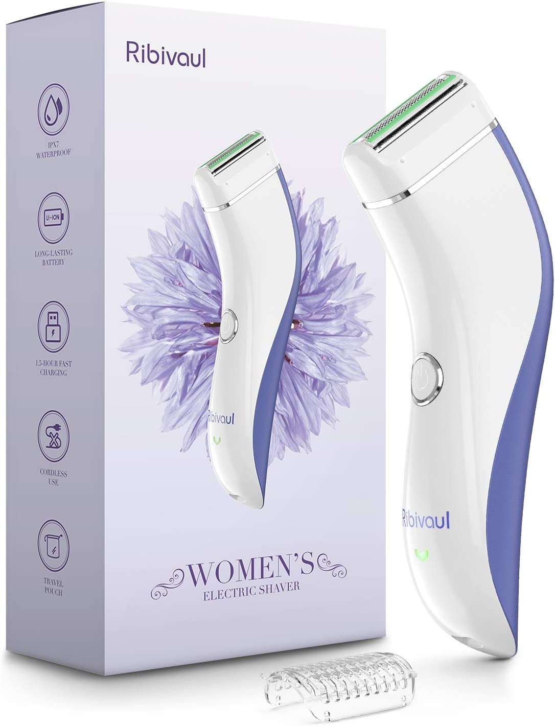 Women Electric Razor, Ribivaul Electric Shaver for Women with 3-1 Shaving Blade, Fast Charging Cordless Women Bikini Trimmer with Long Battery Life, Waterproof Lady Electric Razor for Wet and Dry Use