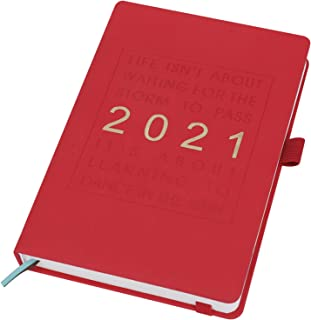 手帳 2021 1月始まり スケジュール帳 A5サイズ 日記帳 仕事 日程予定表 勉強プランナー マンスリー/ウィークリー デイリー ダイアリー ノート 効率アップ 目標達成 レッド