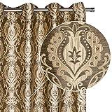 Viste tu hogar Cortina Decorativa con Estampado Estilo Flores Árabes, Moderna y Elegante con un Diseño Único para Salón o Habitación, 1 Pieza, 145X260 CM, en Color Café
